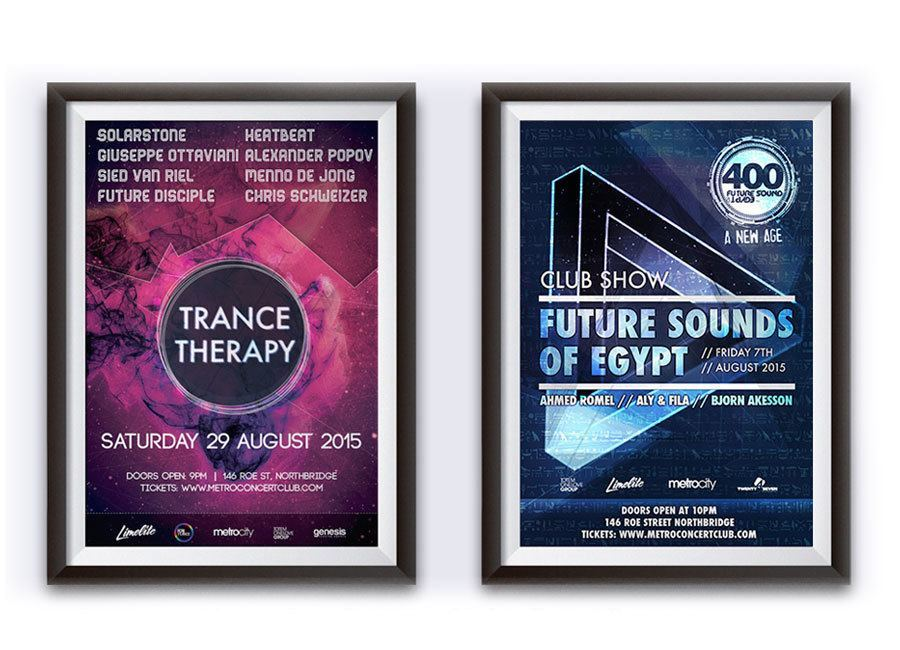 Metro City Nightclub Poster Designs